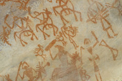 Voorhistorische grotschildering in Bhimbetka - India. Royalty-vrije Stock Foto
