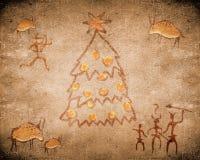 Voorhistorische grotschildering en Kerstmisboom Stock Afbeelding