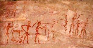 Voorhistorische holschilderijen meer dan 4000 jaar van Khao Chan Ngam, Nakho stock foto