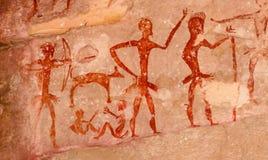 Voorhistorische holschilderijen meer dan 4000 jaar van Khao Chan Ngam, Nakho stock fotografie
