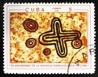 Voorhistorische rotsschilderijen, de reeks ` de 30ste Verjaardag van de Cubaanse Speleological Maatschappij `, circa 1970 Royalty-vrije Stock Foto's