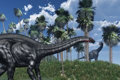 Voorhistorische Scène met Dinosaurussen Stock Afbeeldingen