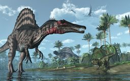 Voorhistorische Scène met Dinosaurussen Royalty-vrije Stock Afbeeldingen
