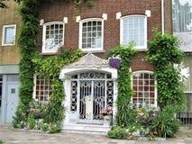 Vooringang van een huis met vegetatie stock foto