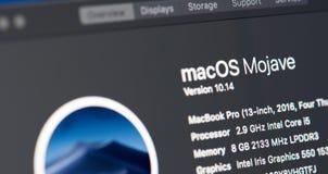 Voorkeur van macbook op Mojave os stock foto