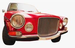 Voorkoplampen en traliewerk van een herstelde retro auto Stock Foto's