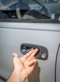 Voorlopige het handvatmoeilijke situatie van de autodeur stock foto's
