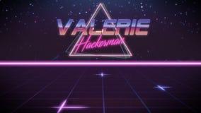 voornaam Valerie in synthwavestijl stock illustratie