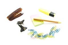 Voornaamste vlekkenmiddel, pen en andere kantoorbehoeften Stock Foto's