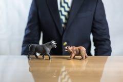 Voorraad en stier en baissemarktconcept royalty-vrije stock afbeelding