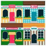 Voorraad vector infographic van winkels en restaurants met verschillende handtekeningen, colofful illustratie Stock Fotografie