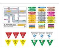 Voorraad vectorbedrijfsveiligheid en gezondheidssignaleringen, waarschuwend uithangbord royalty-vrije illustratie