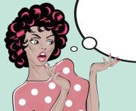 Voorraad Vectorillustratie Geschokt Gal Woman Retro Clip Art stock illustratie