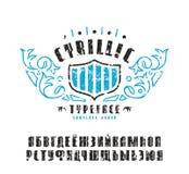 Voorraad vectorreeks van sanserif Cyrillische doopvont royalty-vrije illustratie