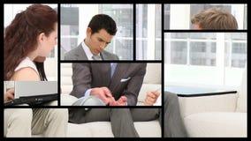 Voorraadanimatie die bedrijfsmensen in het bureau voorstellen stock videobeelden