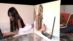 Voorraadanimatie die heel vrouwen tonen die laptop met behulp van stock videobeelden