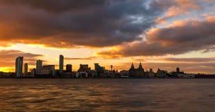 Voorraadbeeld van de horizon van Liverpool, het UK stock afbeeldingen