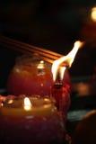 Voorraadbeeld van Kaarsen met een zachte achtergrond Stock Foto's