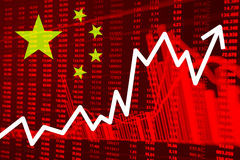 Voorraaddiagram met Vlag van China stock afbeeldingen
