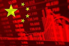Voorraaddiagram met Vlag van China stock foto's