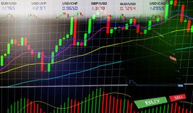 Voorraadforex die handel drijven - de Bedrijfsgrafiekgrafieken van financiële/forex grafiekengrafiek schepen gegevensinformatie i stock fotografie
