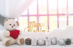 Voorraadfoto: Vrolijke Kerstmis en gelukkige nieuwe jaardecoratie met Stock Foto's