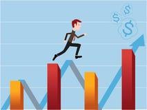 Voorraadhandelaar die op de financiële voorraadgrafieken lopen royalty-vrije illustratie