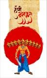 Voorraadillustratie van een groetkaart die Gelukkige Dussehra met schets van Lord Rama en Ravana in slag zeggen Royalty-vrije Stock Fotografie