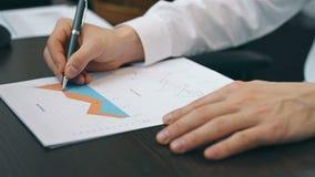 Voorraadmakelaar Analyzing At Graph stock video