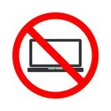 Voorraadvector van geen laptop Verbod voor de toegang tot van laptop Trek het gebruikscomputer aan van ` t Royalty-vrije Stock Afbeeldingen
