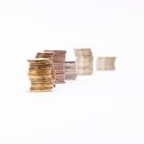 Voorraden van muntstukken stock foto's