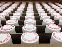 Voorschriftdeksels en flesjes in een doos Royalty-vrije Stock Foto's