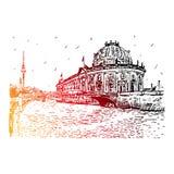 Voorspel museum op Fuifrivier en Alexanderplatz-de toren van TV in centrum van Berlijn, Duitsland Stock Illustratie