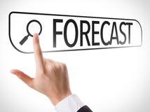 Voorspelling in onderzoeksbar wordt geschreven op het virtuele scherm dat Stock Afbeeldingen