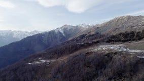 Vooruit beweegt over naakt dalingshout bos en sneeuwberg in de herfst of de winterdag Openlucht zonnige rotsachtige aard scape stock footage