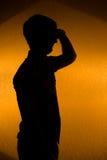 Vooruit het kijken. silhouet van de zekere mens royalty-vrije stock fotografie