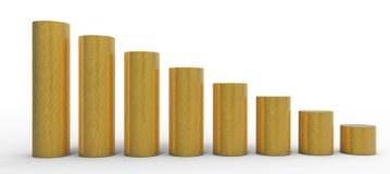 Vooruitgang of degression: gouden muntstukkenstapels Stock Afbeeldingen