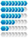 Vooruitgang, ladende bars Geometrische stap, faseindicatoren, meters vector illustratie
