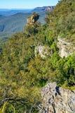 Vooruitzicht, blauw bergen nationaal park, Australië 3 stock afbeeldingen