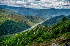 Vooruitzicht over Sil-rivier, Ribeira Sacra royalty-vrije stock foto's
