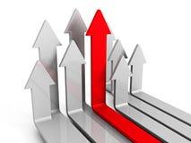 Voorwaartse Omhooggaand van leidersred arrow moving Stock Afbeeldingen