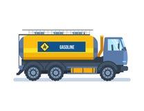 Voorwerp van de olieindustrie Kleurrijke auto dragende benzine in tank stock illustratie