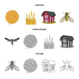voorwerp van landbouw en de landbouwembleem Inzameling van landbouw en installatie vectorpictogram voor voorraad royalty-vrije illustratie