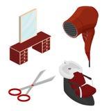 Voorwerpen in een schoonheidssalon Een deel van het binnenland Isometrische vecto Royalty-vrije Stock Foto