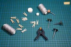Voorwerpen en hulpmiddelen voor schip modellering royalty-vrije stock foto's