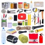 Voorwerpen nuttig in noodsituatiesituaties zoals natuurrampen royalty-vrije stock afbeeldingen