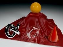 Voorwerpen op glanzende rode stof Royalty-vrije Stock Afbeeldingen