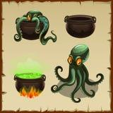 Voorwerpen van de boiler en de octopus afzonderlijk en royalty-vrije illustratie