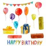 Voorwerpen van de waterverf de gelukkige verjaardag op een transparante achtergrond royalty-vrije illustratie