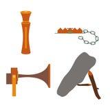 Voorwerpen voor de jachtaas en vallen stock illustratie